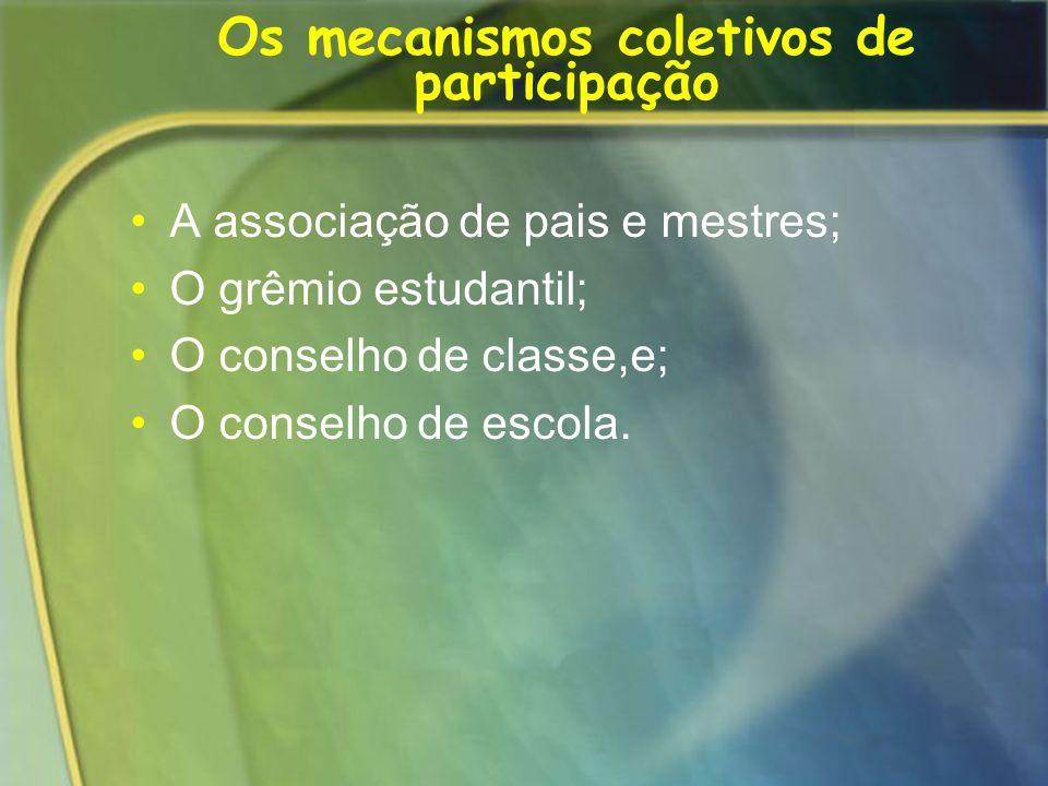 Os mecanismos coletivos de participação A associação de pais e mestres; O grêmio estudantil; O conselho de classe,e; O conselho de escola.