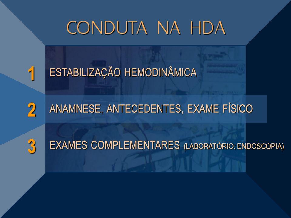 1 3 ESTABILIZAÇÃO HEMODINÂMICA EXAMES COMPLEMENTARES (LABORATÓRIO; ENDOSCOPIA) 2 ANAMNESE, ANTECEDENTES, EXAME FÍSICO