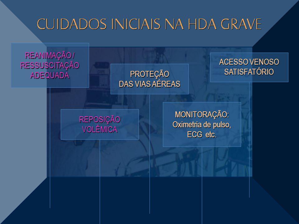 REANIMAÇÃO / RESSUSCITAÇÃO ADEQUADA PROTEÇÃO DAS VIAS AÉREAS ACESSO VENOSO SATISFATÓRIO REPOSIÇÃO VOLÊMICA MONITORAÇÃO: Oximetria de pulso, ECG etc.