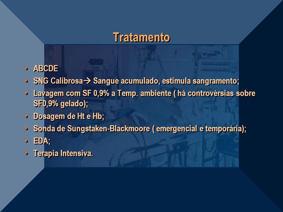 Tratamento ABCDE SNG Calibrosa Sangue acumulado, estimula sangramento; Lavagem com SF 0,9% a Temp. ambiente ( há controvérsias sobre SF0,9% gelado); D