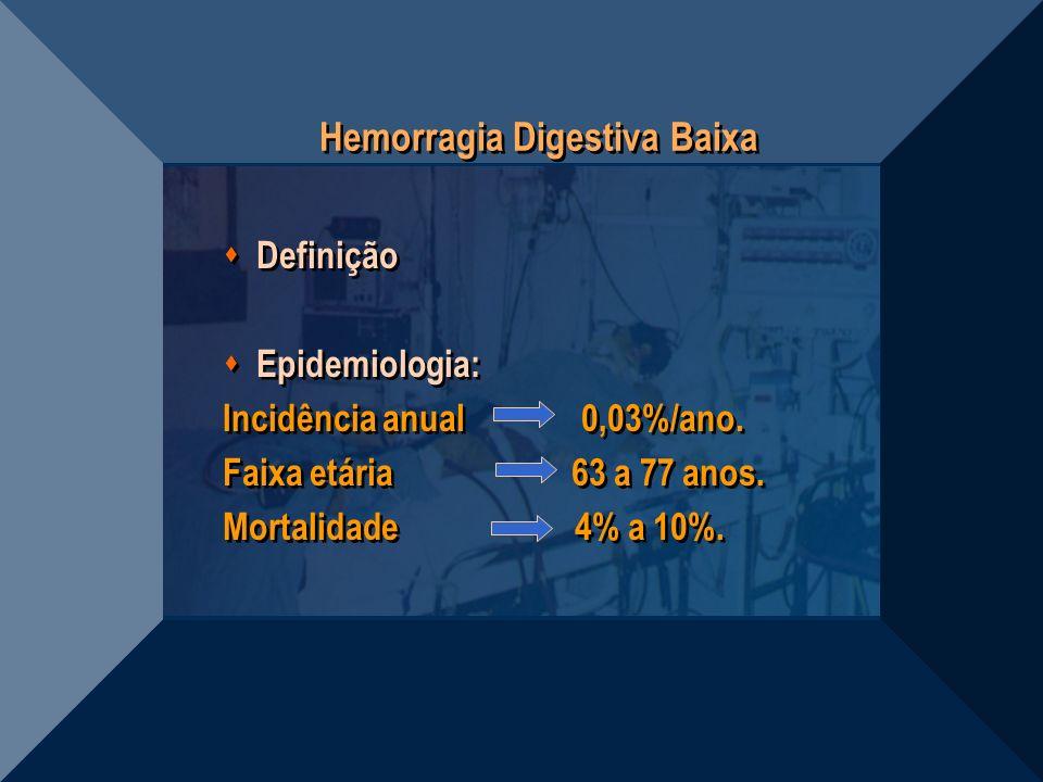 Hemorragia Digestiva Baixa Definição Epidemiologia: Incidência anual 0,03%/ano. Faixa etária 63 a 77 anos. Mortalidade 4% a 10%. Definição Epidemiolog