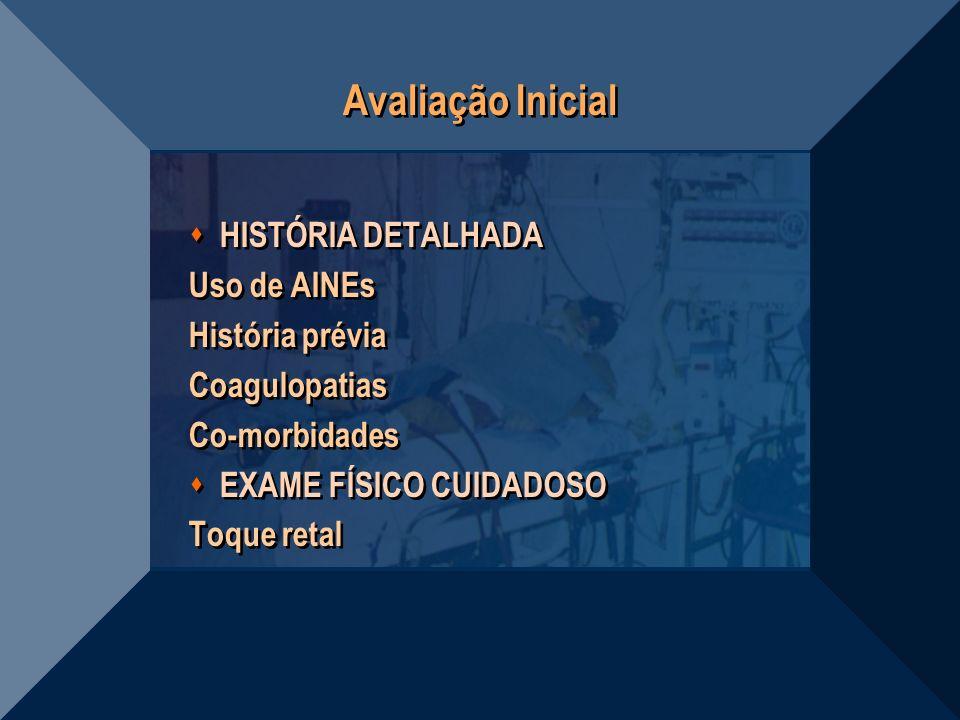 Avaliação Inicial HISTÓRIA DETALHADA Uso de AINEs História prévia Coagulopatias Co-morbidades EXAME FÍSICO CUIDADOSO Toque retal HISTÓRIA DETALHADA Us