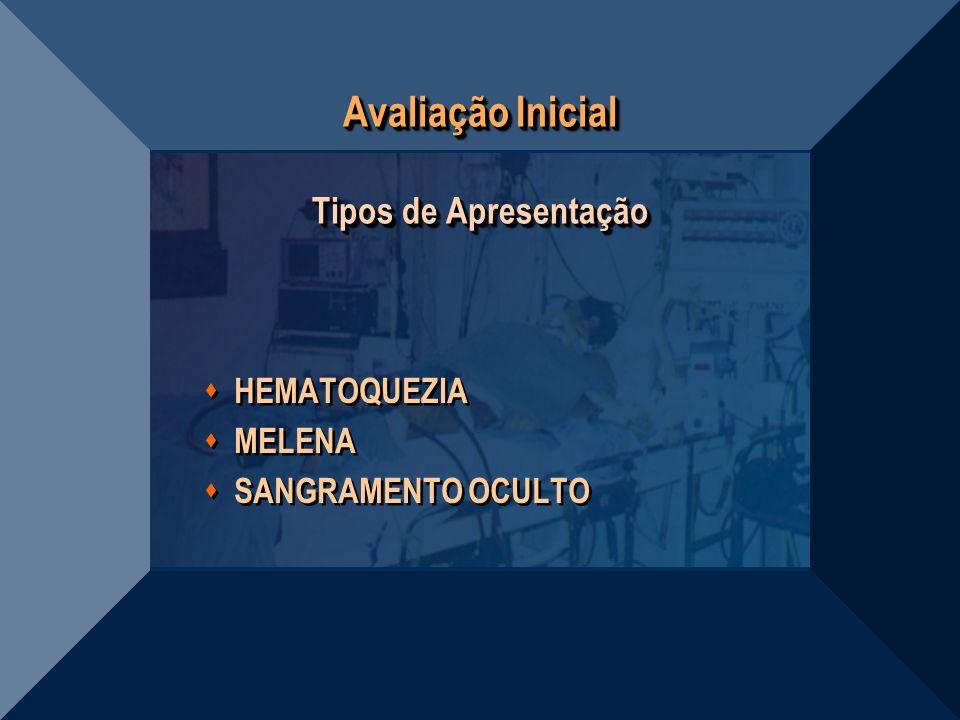 Avaliação Inicial Tipos de Apresentação HEMATOQUEZIA MELENA SANGRAMENTO OCULTO HEMATOQUEZIA MELENA SANGRAMENTO OCULTO