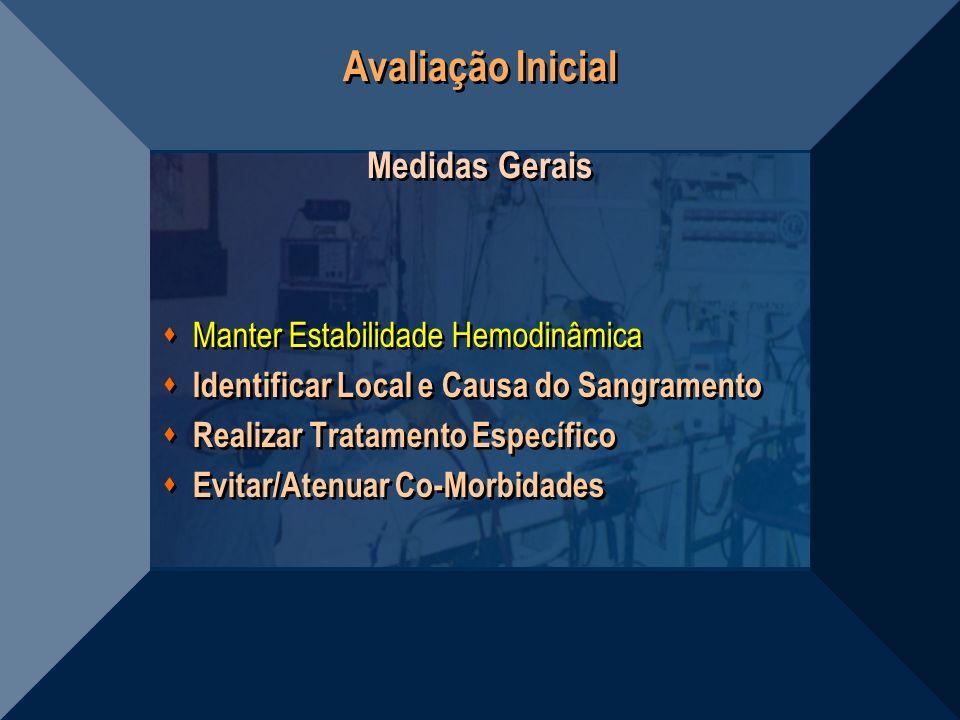 Avaliação Inicial Medidas Gerais Manter Estabilidade Hemodinâmica Identificar Local e Causa do Sangramento Realizar Tratamento Específico Evitar/Atenu
