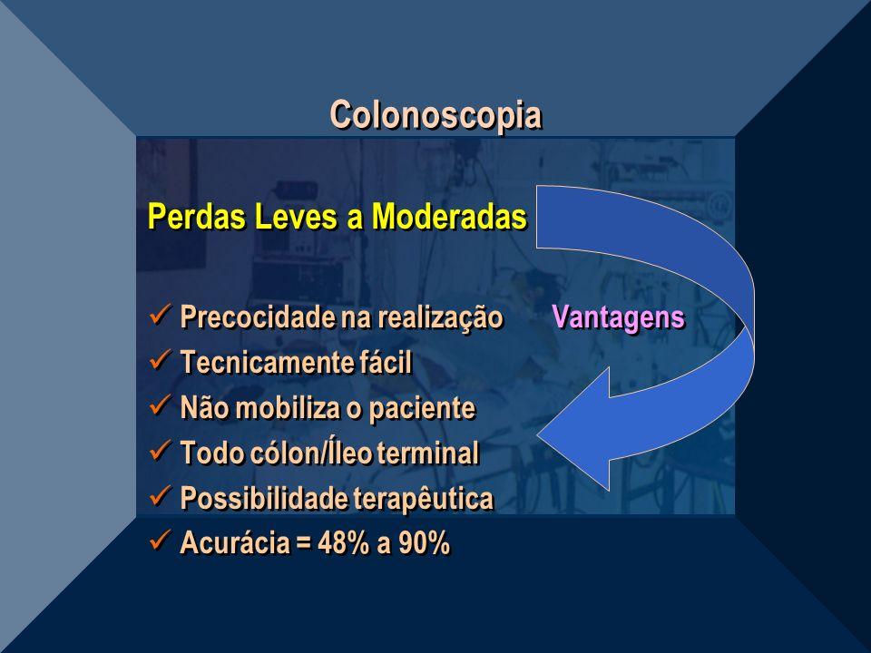 Colonoscopia Perdas Leves a Moderadas Precocidade na realização Vantagens Tecnicamente fácil Não mobiliza o paciente Todo cólon/Íleo terminal Possibil