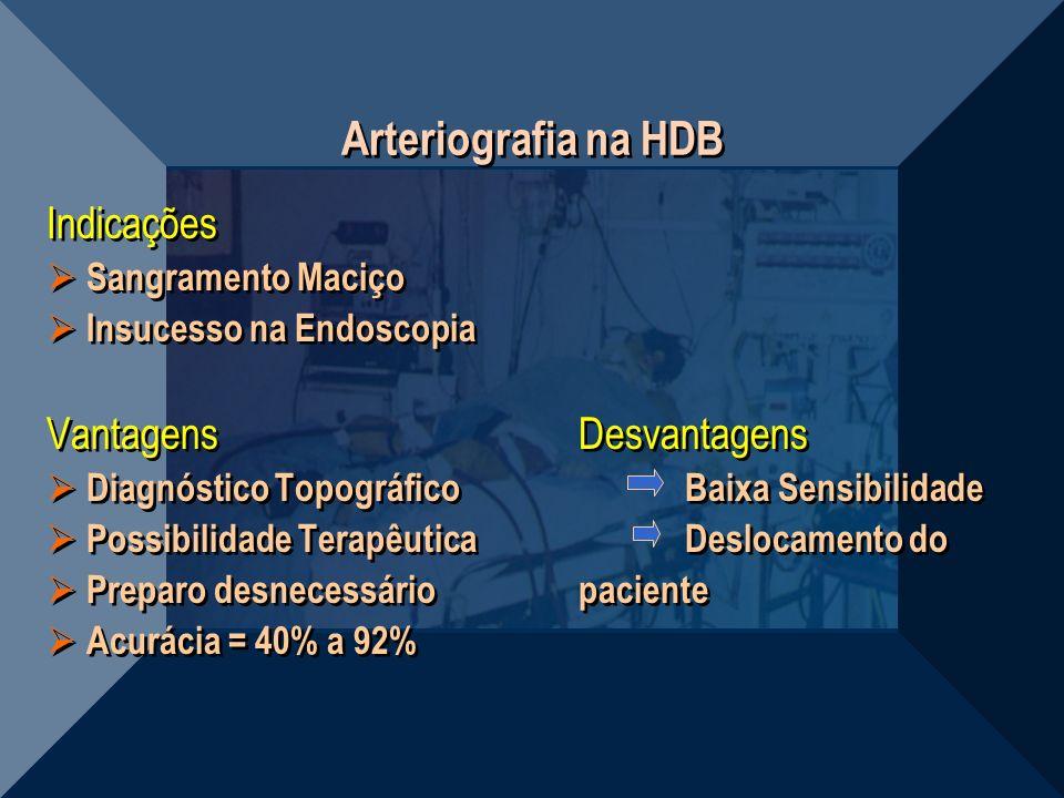 Arteriografia na HDB Indicações Sangramento Maciço Insucesso na Endoscopia VantagensDesvantagens Diagnóstico TopográficoBaixa Sensibilidade Possibilid