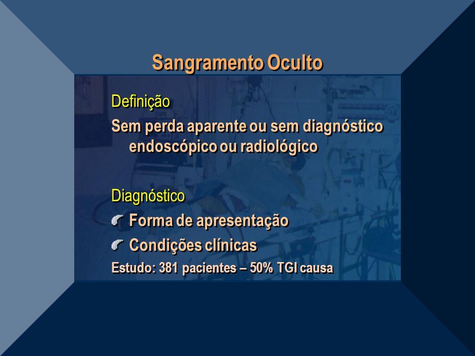 Sangramento Oculto Definição Sem perda aparente ou sem diagnóstico endoscópico ou radiológico Diagnóstico Forma de apresentação Condições clínicas Est