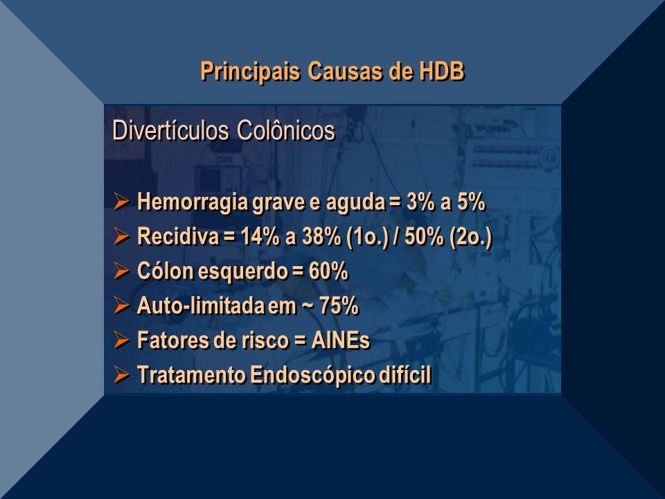Principais Causas de HDB Divertículos Colônicos Hemorragia grave e aguda = 3% a 5% Recidiva = 14% a 38% (1o.) / 50% (2o.) Cólon esquerdo = 60% Auto-li