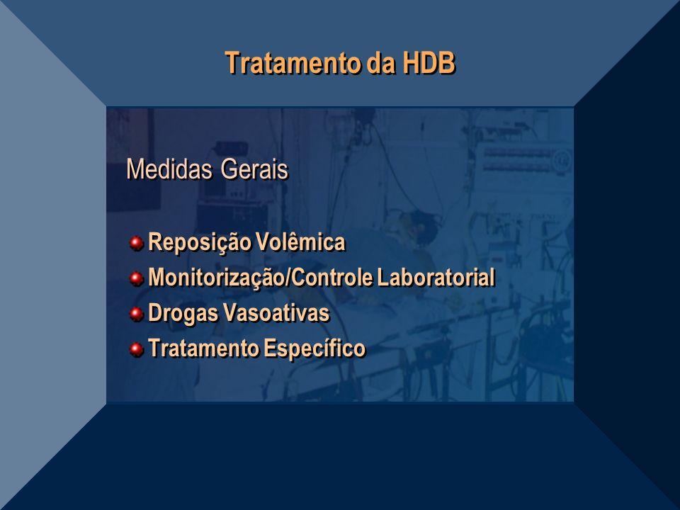 Tratamento da HDB Medidas Gerais Reposição Volêmica Monitorização/Controle Laboratorial Drogas Vasoativas Tratamento Específico Medidas Gerais Reposiç