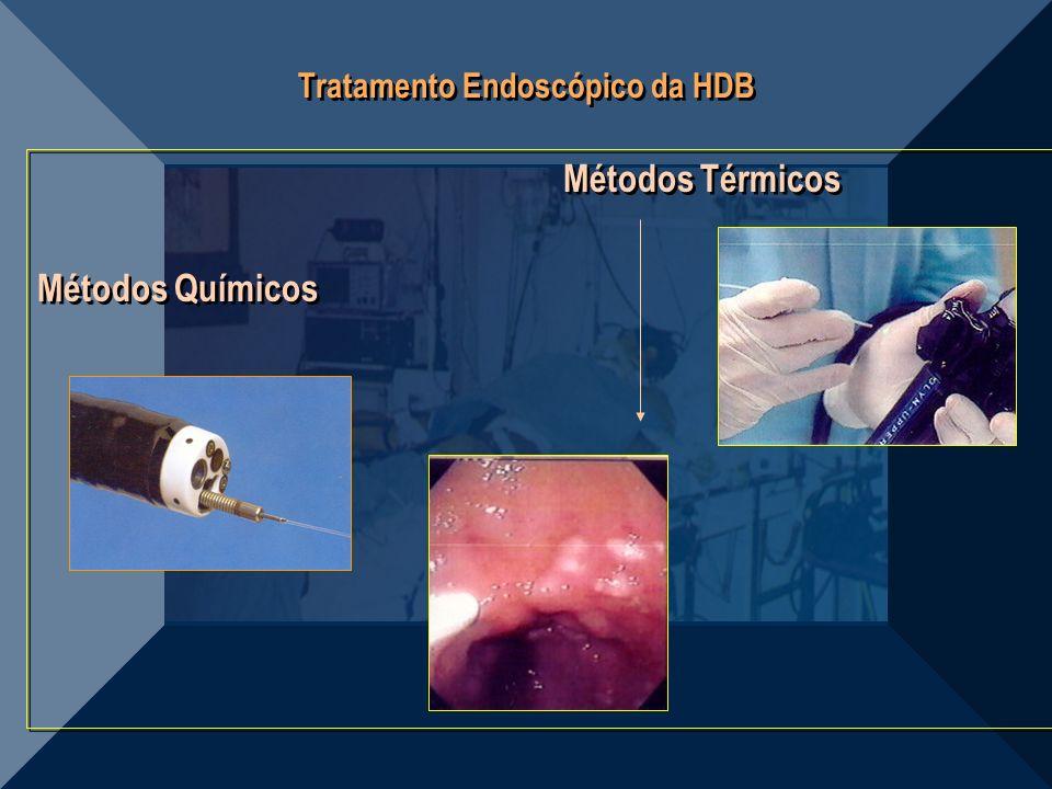 Tratamento Endoscópico da HDB Métodos Térmicos Métodos Químicos Métodos Térmicos Métodos Químicos