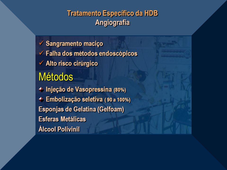Tratamento Específico da HDB Angiografia Sangramento maciço Falha dos métodos endoscópicos Alto risco cirúrgico Métodos Injeção de Vasopressina (80%)