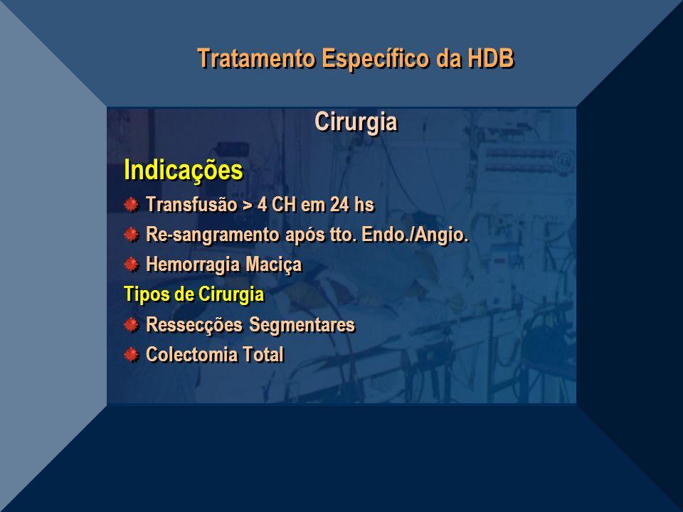 Tratamento Específico da HDB Cirurgia Indicações Transfusão > 4 CH em 24 hs Re-sangramento após tto. Endo./Angio. Hemorragia Maciça Tipos de Cirurgia