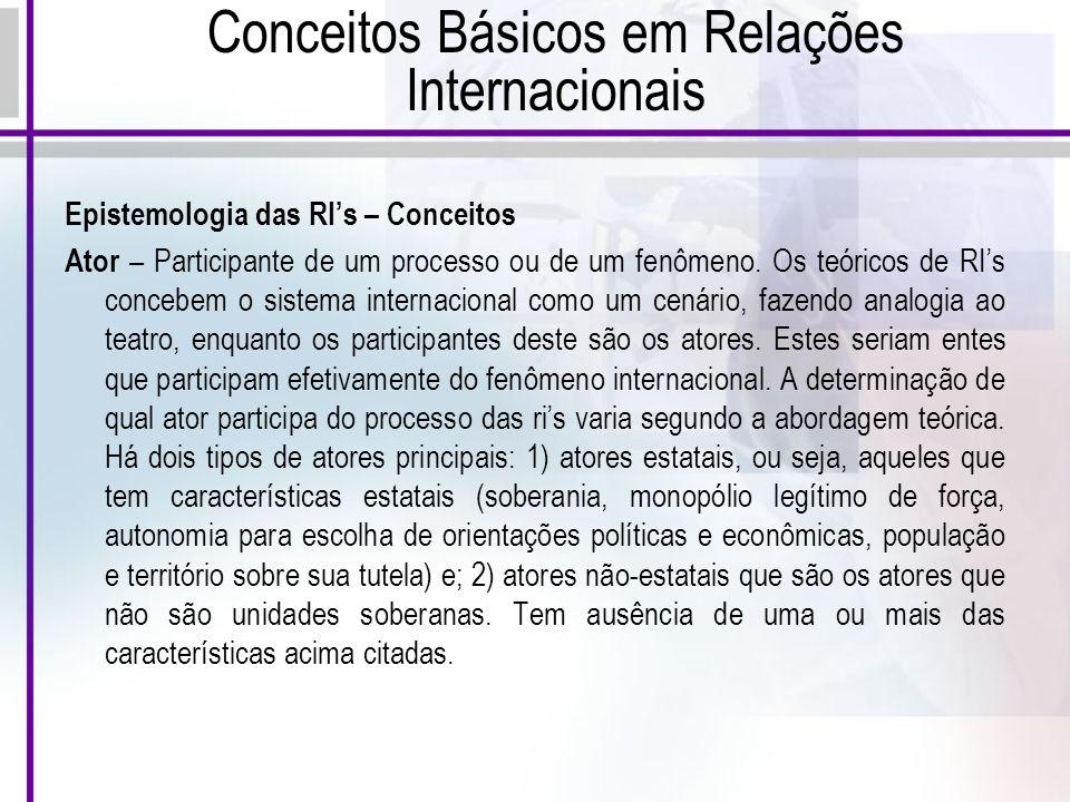 Conceitos Básicos em Relações Internacionais Epistemologia das RIs – Conceitos Ator – Participante de um processo ou de um fenômeno.