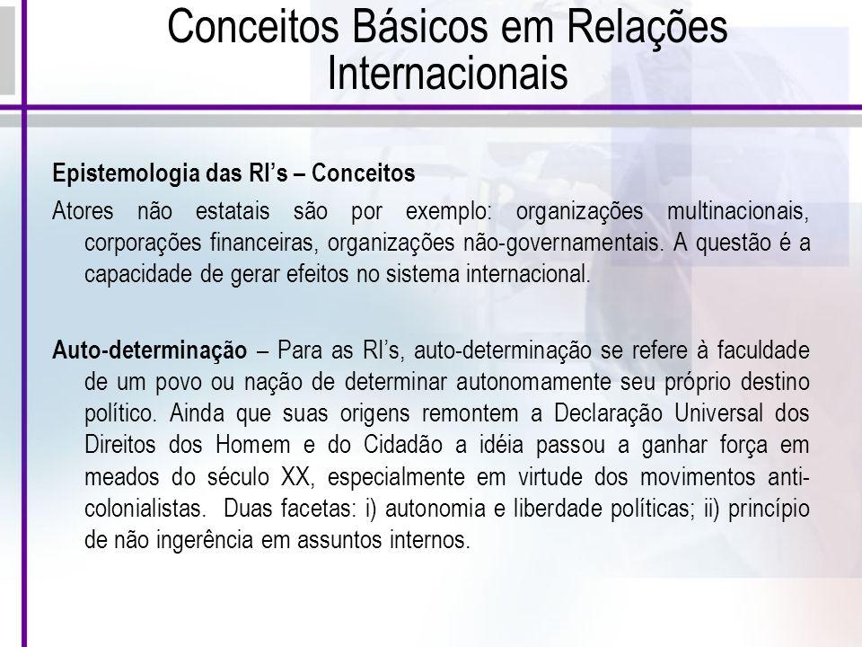 Conceitos Básicos em Relações Internacionais Epistemologia das RIs – Conceitos Atores não estatais são por exemplo: organizações multinacionais, corporações financeiras, organizações não-governamentais.