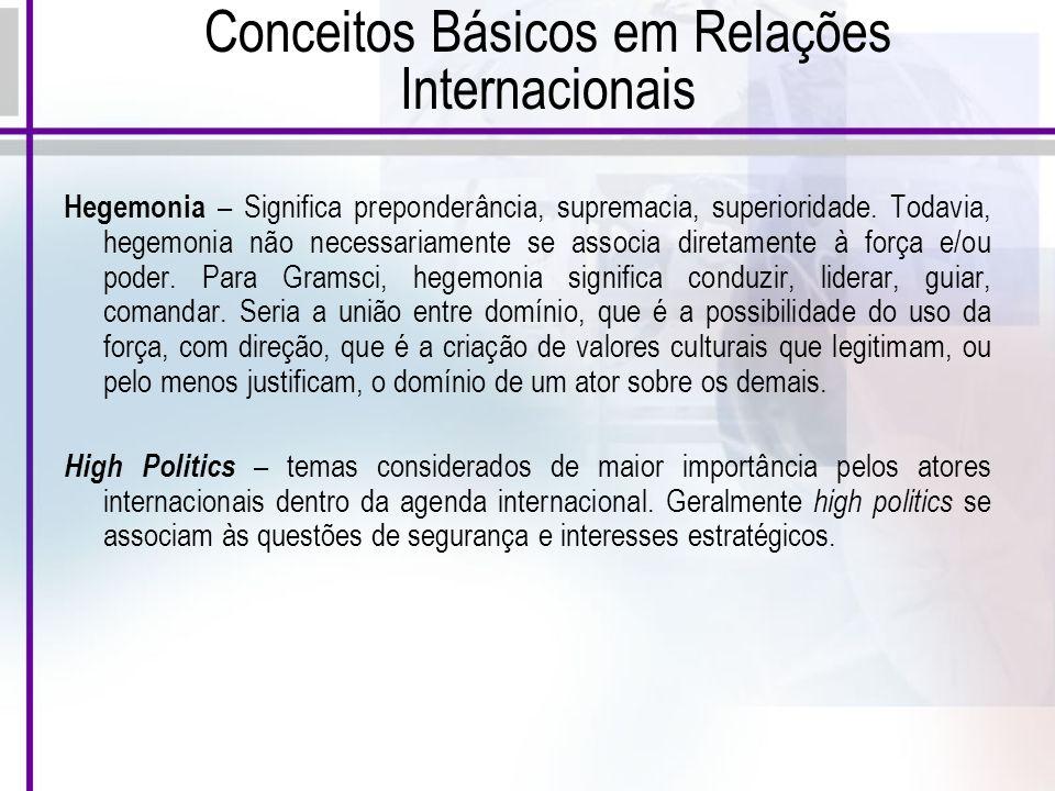 Conceitos Básicos em Relações Internacionais Hegemonia – Significa preponderância, supremacia, superioridade.