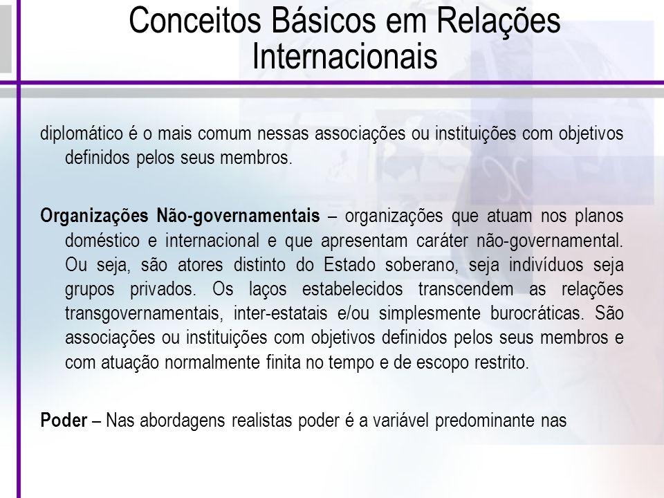 Conceitos Básicos em Relações Internacionais diplomático é o mais comum nessas associações ou instituições com objetivos definidos pelos seus membros.