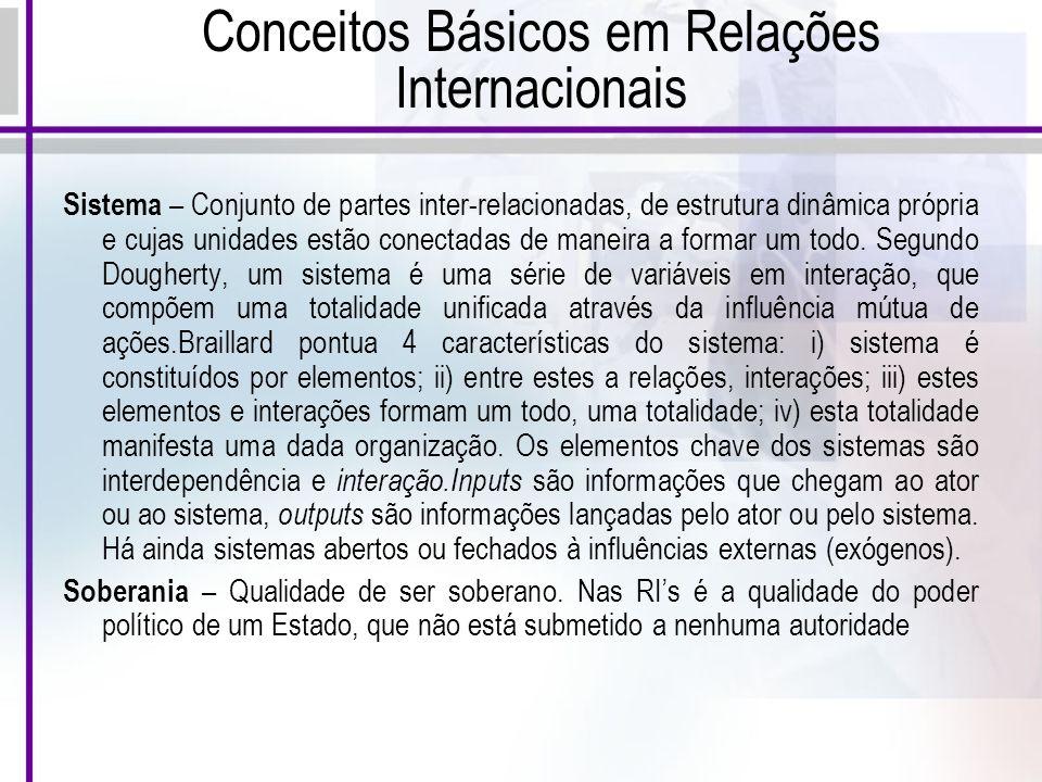 Conceitos Básicos em Relações Internacionais Sistema – Conjunto de partes inter-relacionadas, de estrutura dinâmica própria e cujas unidades estão conectadas de maneira a formar um todo.