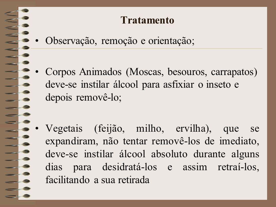 Tratamento Observação, remoção e orientação; Corpos Animados (Moscas, besouros, carrapatos) deve-se instilar álcool para asfixiar o inseto e depois re