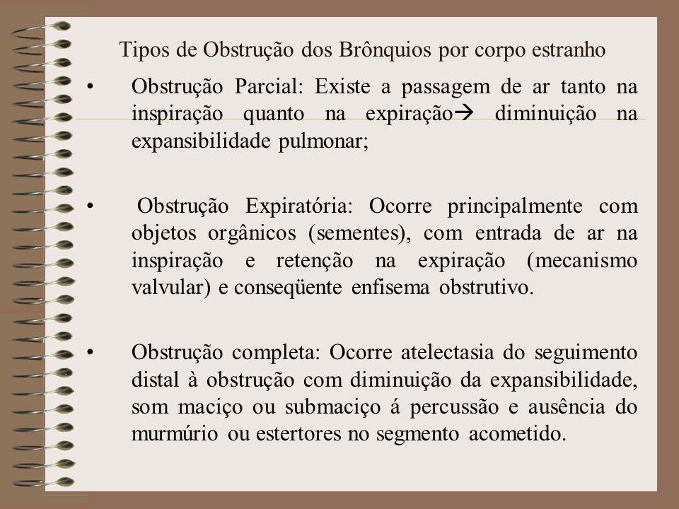 Tipos de Obstrução dos Brônquios por corpo estranho Obstrução Parcial: Existe a passagem de ar tanto na inspiração quanto na expiração diminuição na e