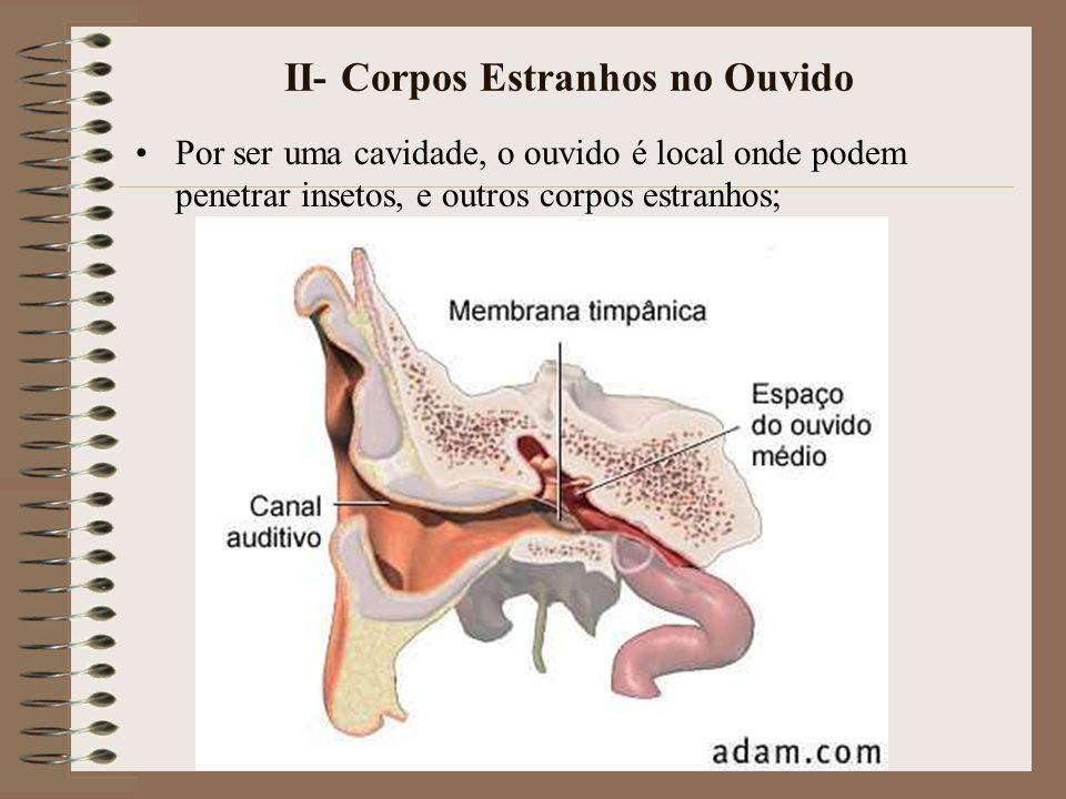II- Corpos Estranhos no Ouvido Por ser uma cavidade, o ouvido é local onde podem penetrar insetos, e outros corpos estranhos;