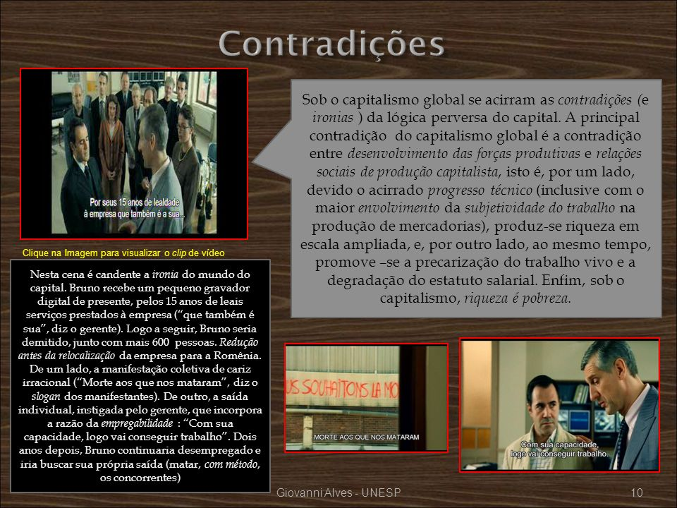 Giovanni Alves - UNESP10 Sob o capitalismo global se acirram as contradições ( e ironias ) da lógica perversa do capital. A principal contradição do c