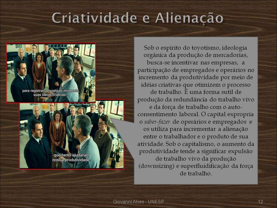 Giovanni Alves - UNESP12 Sob o espírito do toyotismo, ideologia orgânica da produção de mercadorias, busca-se incentivar nas empresas, a participação