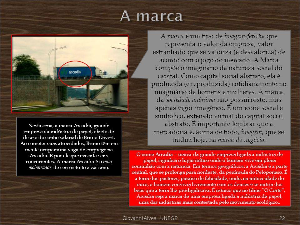 Giovanni Alves - UNESP22 A marca é um tipo de imagem-fetiche que representa o valor da empresa, valor estranhado que se valoriza (e desvaloriza) de ac