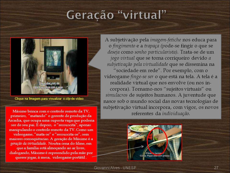 Giovanni Alves - UNESP27 A subjetivação pela imagem-fetiche nos educa para o fingimento e a trapaça (p ode-se fingir o que se deseja como sonho partic