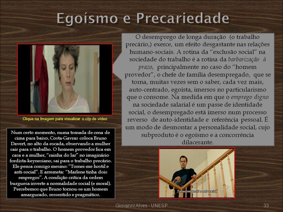 Giovanni Alves - UNESP33 O desemprego de longa duração (o trabalho precário,) exerce, um efeito desgastante nas relações humano-sociais. A rotina da e