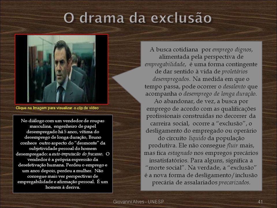 Giovanni Alves - UNESP41 A busca cotidiana por emprego dignos, alimentada pela perspectiva de empregabilidade, é uma forma contingente de dar sentido