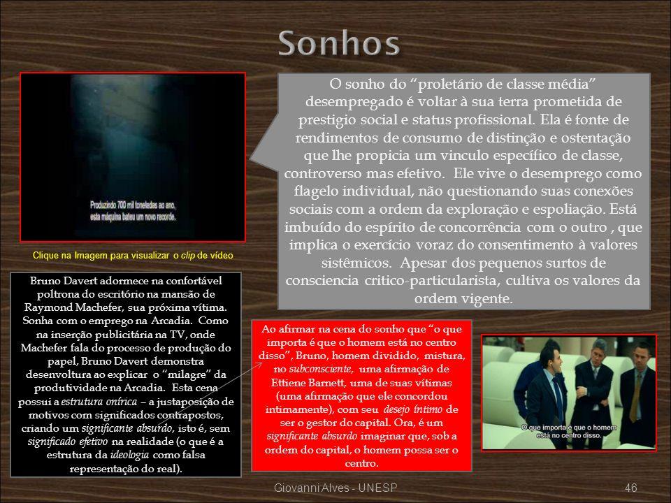 Giovanni Alves - UNESP46 O sonho do proletário de classe média desempregado é voltar à sua terra prometida de prestigio social e status profissional.
