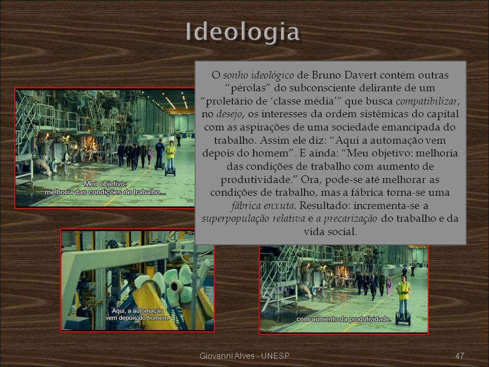 Giovanni Alves - UNESP47 O sonho ideológico de Bruno Davert contém outras pérolas do subconsciente delirante de um proletário de classe média que busc