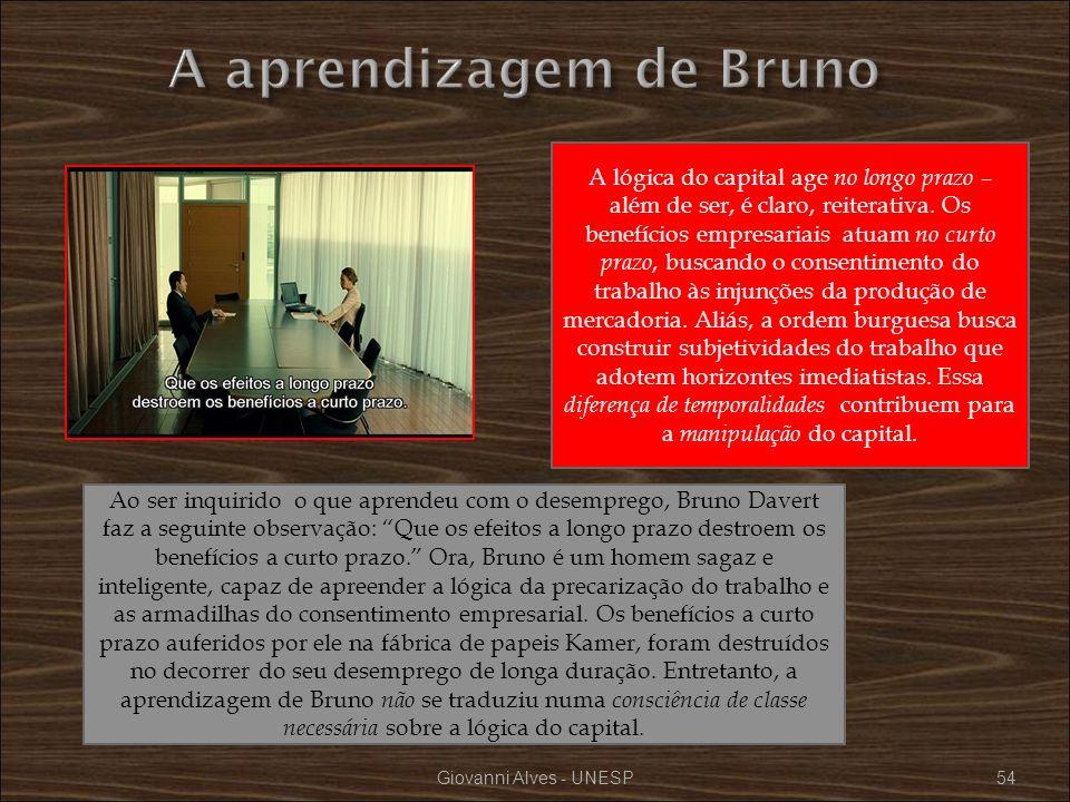 Giovanni Alves - UNESP54 Ao ser inquirido o que aprendeu com o desemprego, Bruno Davert faz a seguinte observação: Que os efeitos a longo prazo destro