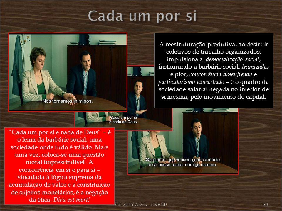 Giovanni Alves - UNESP59 A reestruturação produtiva, ao destruir coletivos de trabalho organizados, impulsiona a dessocialização social, instaurando a