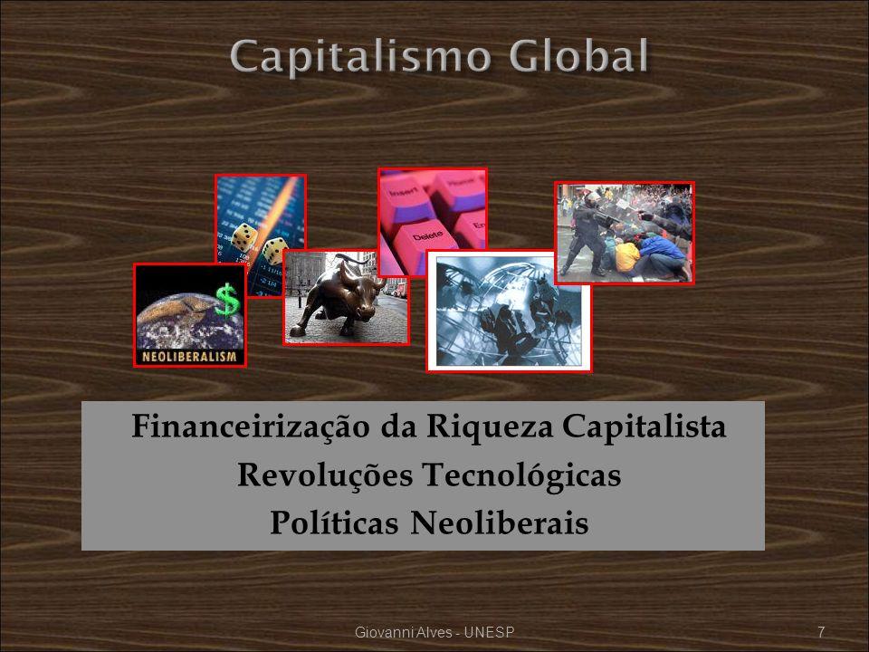 Financeirização da Riqueza Capitalista Revoluções Tecnológicas Políticas Neoliberais Giovanni Alves - UNESP7