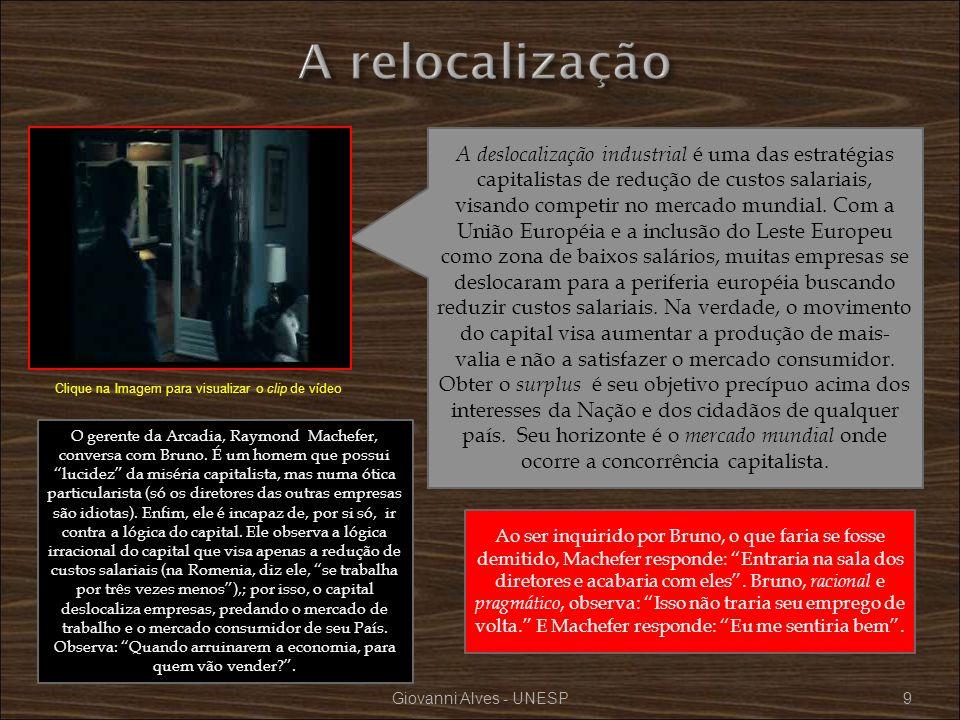 Giovanni Alves - UNESP50 Na sala de espera para a entrevista de emprego, tendo ao fundo a gravura abstrata do mapa da União Européia permeada de cédulas de euro, Bruno demonstrou ser um homem inconformista.