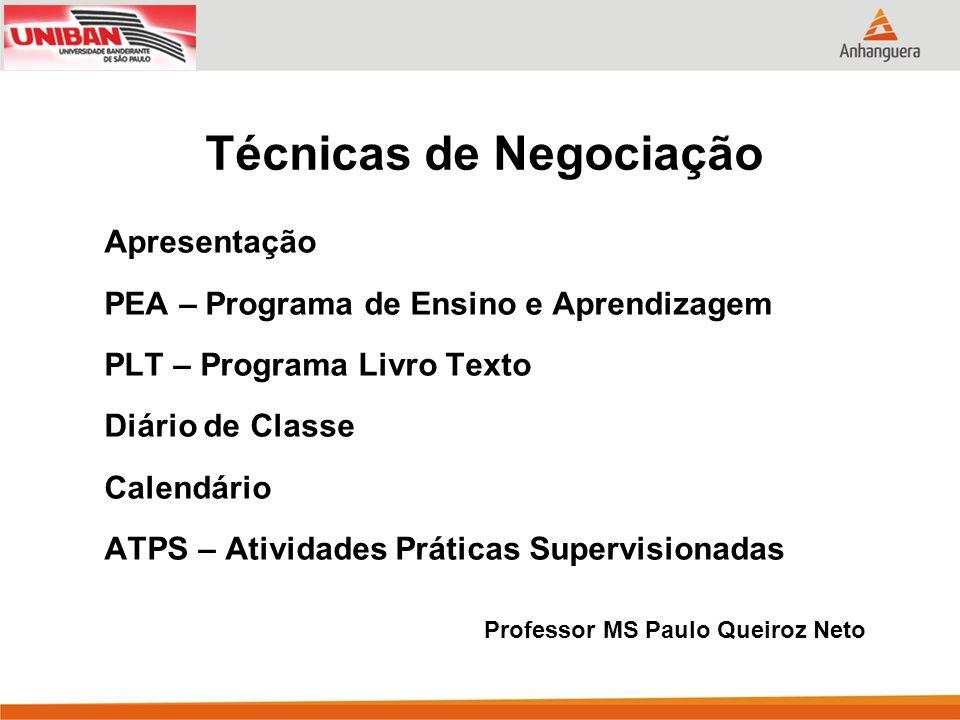 Apresentação PEA – Programa de Ensino e Aprendizagem PLT – Programa Livro Texto Diário de Classe Calendário ATPS – Atividades Práticas Supervisionadas