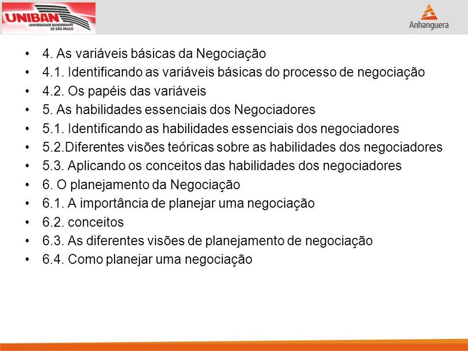 4. As variáveis básicas da Negociação 4.1. Identificando as variáveis básicas do processo de negociação 4.2. Os papéis das variáveis 5. As habilidades