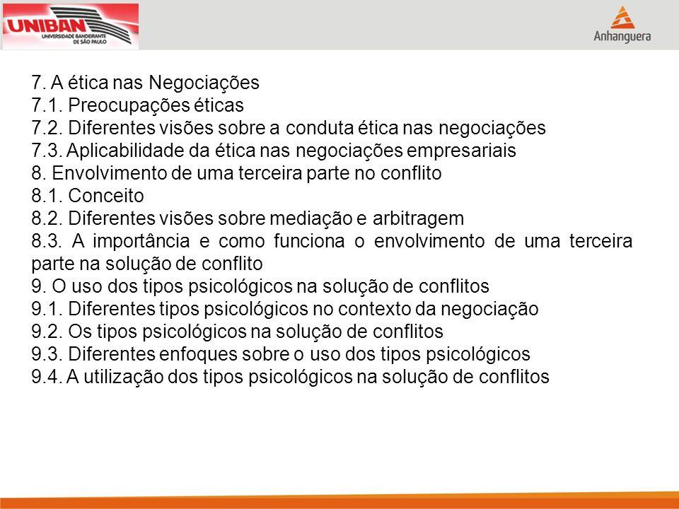 7. A ética nas Negociações 7.1. Preocupações éticas 7.2. Diferentes visões sobre a conduta ética nas negociações 7.3. Aplicabilidade da ética nas nego