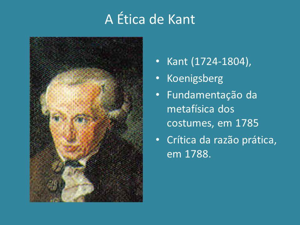 A Ética de Kant Kant (1724-1804), Koenigsberg Fundamentação da metafísica dos costumes, em 1785 Crítica da razão prática, em 1788.