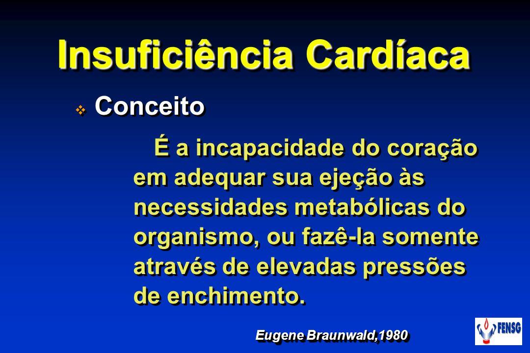 Insuficiência Cardíaca Conceito É a incapacidade do coração em adequar sua ejeção às necessidades metabólicas do organismo, ou fazê-la somente através