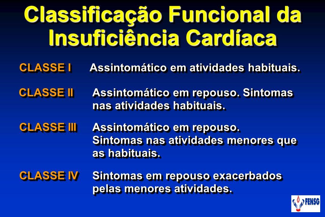 Classificação Funcional da Insuficiência Cardíaca CLASSE I Assintomático em atividades habituais. CLASSE II Assintomático em repouso. Sintomas nas ati