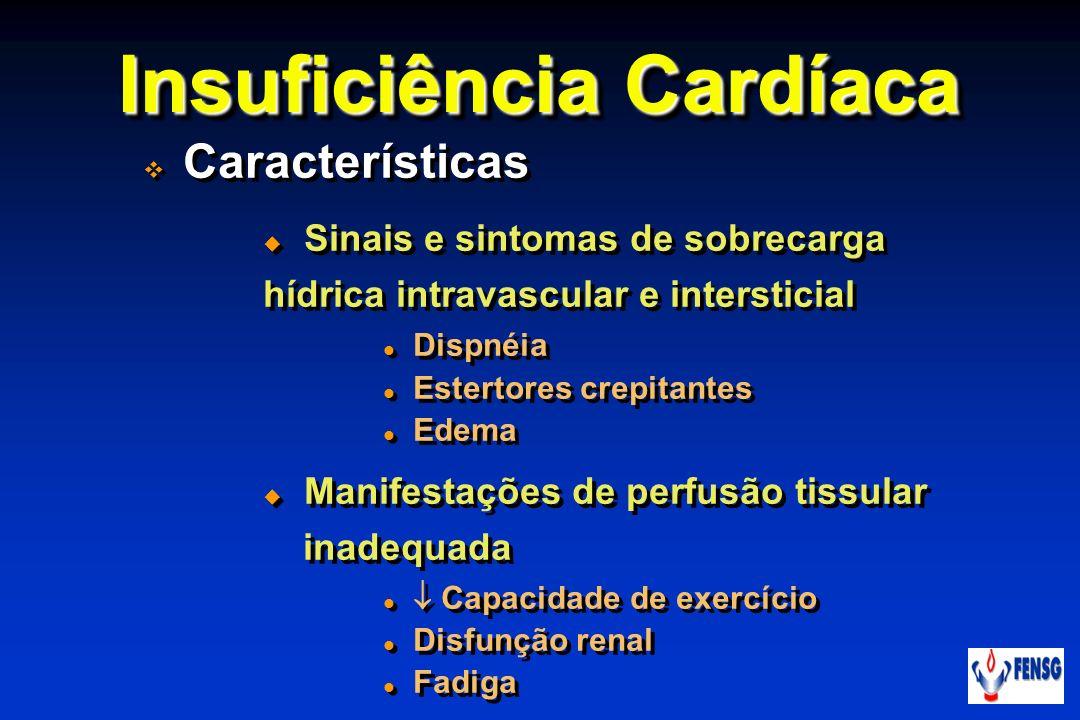 Insuficiência Cardíaca Características Sinais e sintomas de sobrecarga hídrica intravascular e intersticial Dispnéia Estertores crepitantes Edema Mani