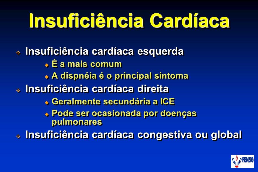 Insuficiência cardíaca esquerda É a mais comum A dispnéia é o principal sintoma Insuficiência cardíaca direita Geralmente secundária a ICE Pode ser oc