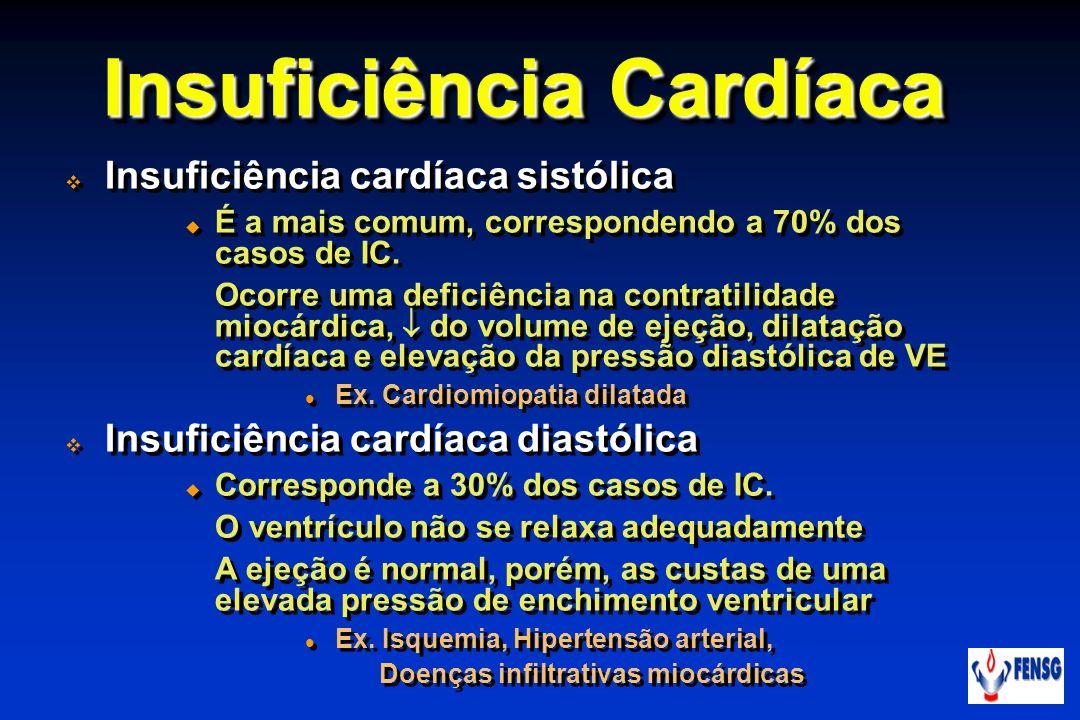 Insuficiência Cardíaca Insuficiência cardíaca sistólica É a mais comum, correspondendo a 70% dos casos de IC. Ocorre uma deficiência na contratilidade