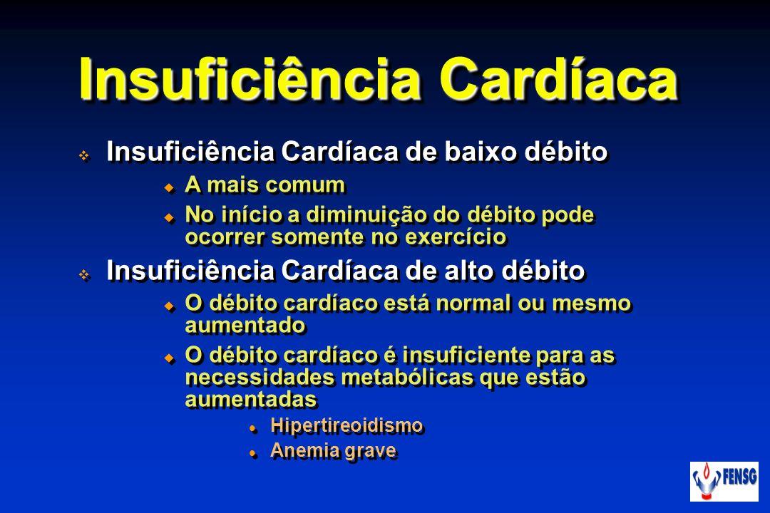 Insuficiência Cardíaca Insuficiência Cardíaca de baixo débito A mais comum No início a diminuição do débito pode ocorrer somente no exercício Insufici