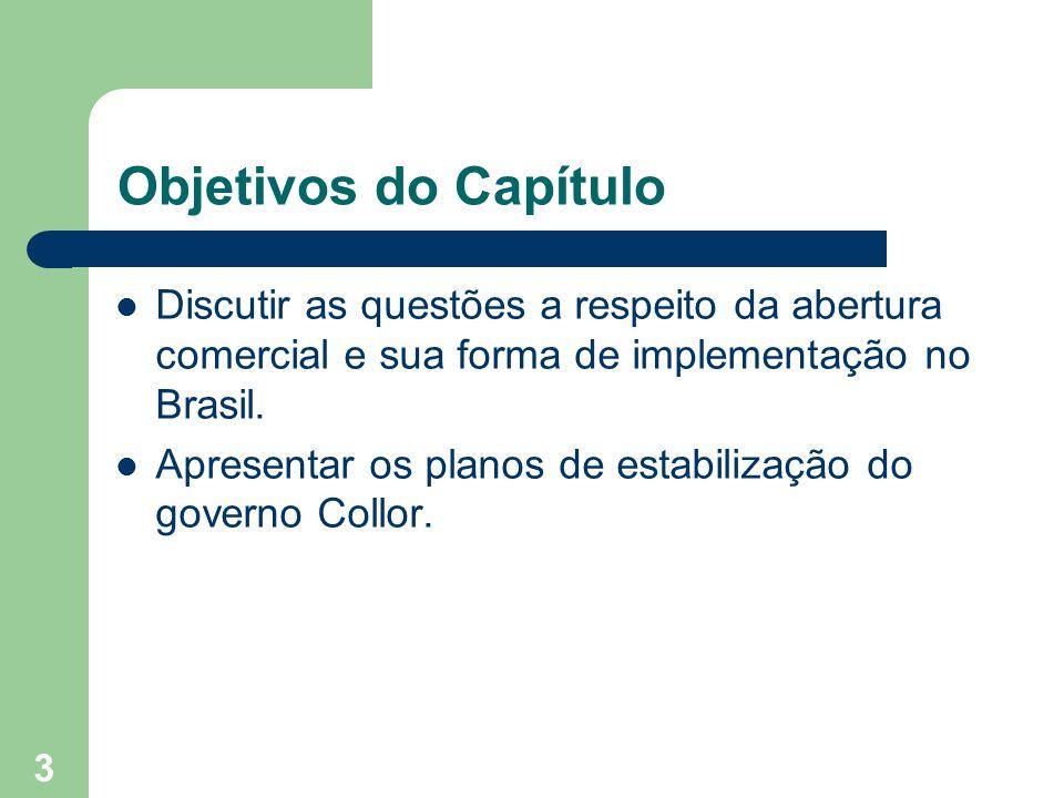3 Objetivos do Capítulo Discutir as questões a respeito da abertura comercial e sua forma de implementação no Brasil. Apresentar os planos de estabili