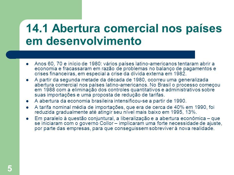 5 14.1 Abertura comercial nos países em desenvolvimento Anos 60, 70 e início de 1980: vários países latino-americanos tentaram abrir a economia e frac