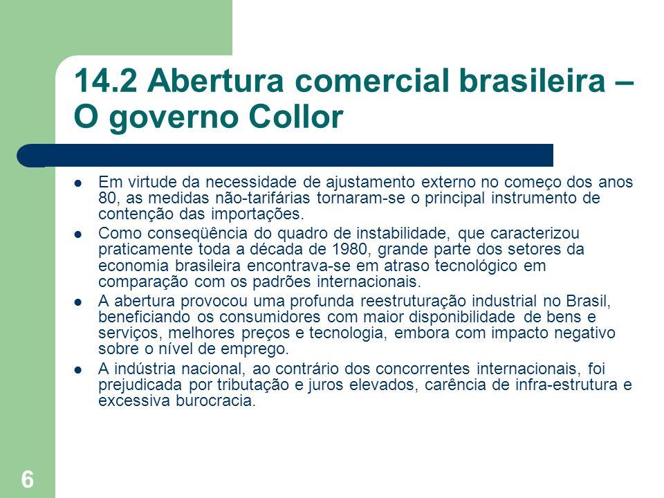 6 14.2 Abertura comercial brasileira – O governo Collor Em virtude da necessidade de ajustamento externo no começo dos anos 80, as medidas não-tarifár
