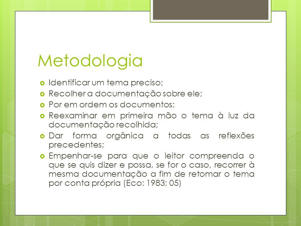 Metodologia Identificar um tema preciso; Recolher a documentação sobre ele; Por em ordem os documentos; Reexaminar em primeira mão o tema à luz da doc